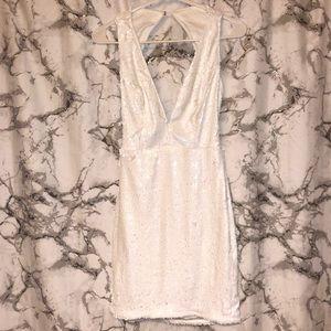 V neck white sequin dress